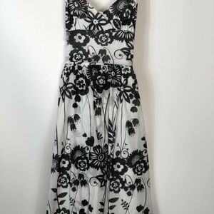 Bisou Bisou Womens Black White Floral Flowy Dress